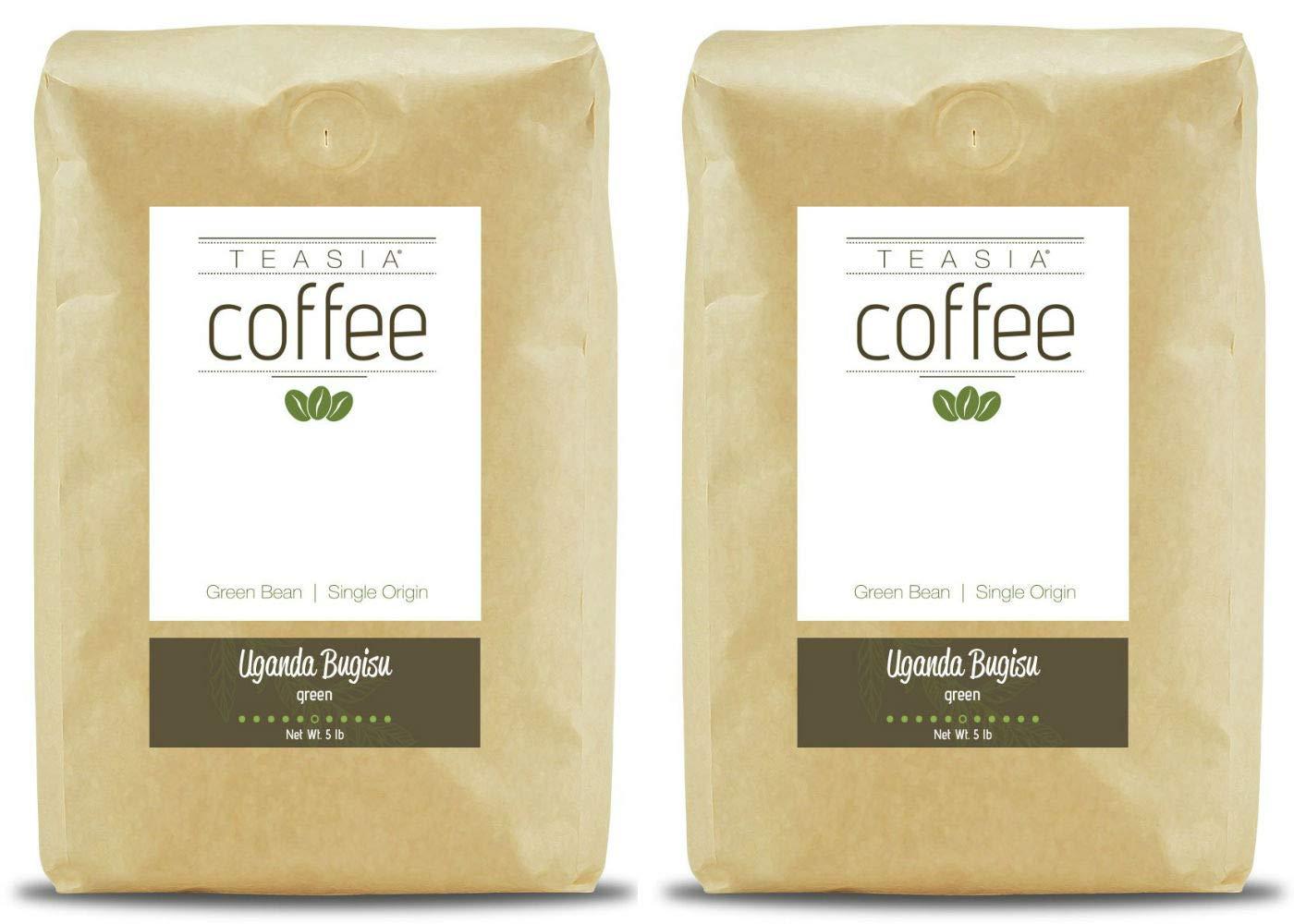 Teasia Coffee, Uganda Bugisu, Single Origin Fair Trade, Green Unroasted Whole Coffee Beans, 5-Pound Bag (2-Pack) by Teasia