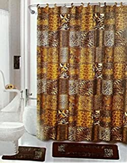 Safari 15 Piece Bathroom Set Brown Bath Rugs Shower Curtain U0026 Rings