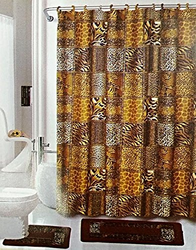 Safari 15-Piece Bathroom Set Brown Bath Rugs Shower Curtain & Rings by EMPIRE