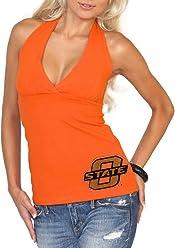68dd87ba13 chicka-d Ladies Junior Cut Oklahoma State University V-Neck Halter Top