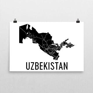 Carte d'Ouzbékistan, Carte d'Ouzbékistan, Carte d'Ouzbékistan, Art d'Ouzbékistan, Affiche d'Ouzbékistan, Affiche d'Ouzbékistan, Cadeaux d'Ouzbékistan, Décor d'Ouzbékistan 24'x36.