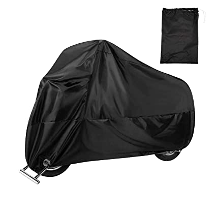 Safety Buckle Beeway Heavy Duty Waterproof Motorbike Dust Rain Cover Indoor Outdoor Protection XL Motorcycle Cover Lock-holes Elasticated Hems 210D Oxford Fabric
