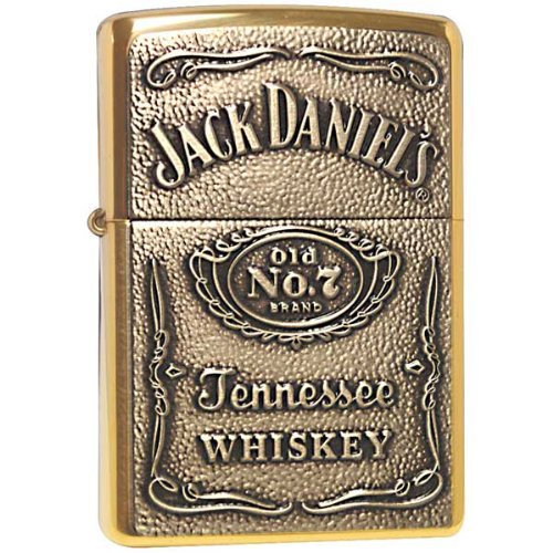 Zippo Lighter - Jack Daniel's Label Brass Emblem High Polish Brass Polish Brass Jack Daniels Label