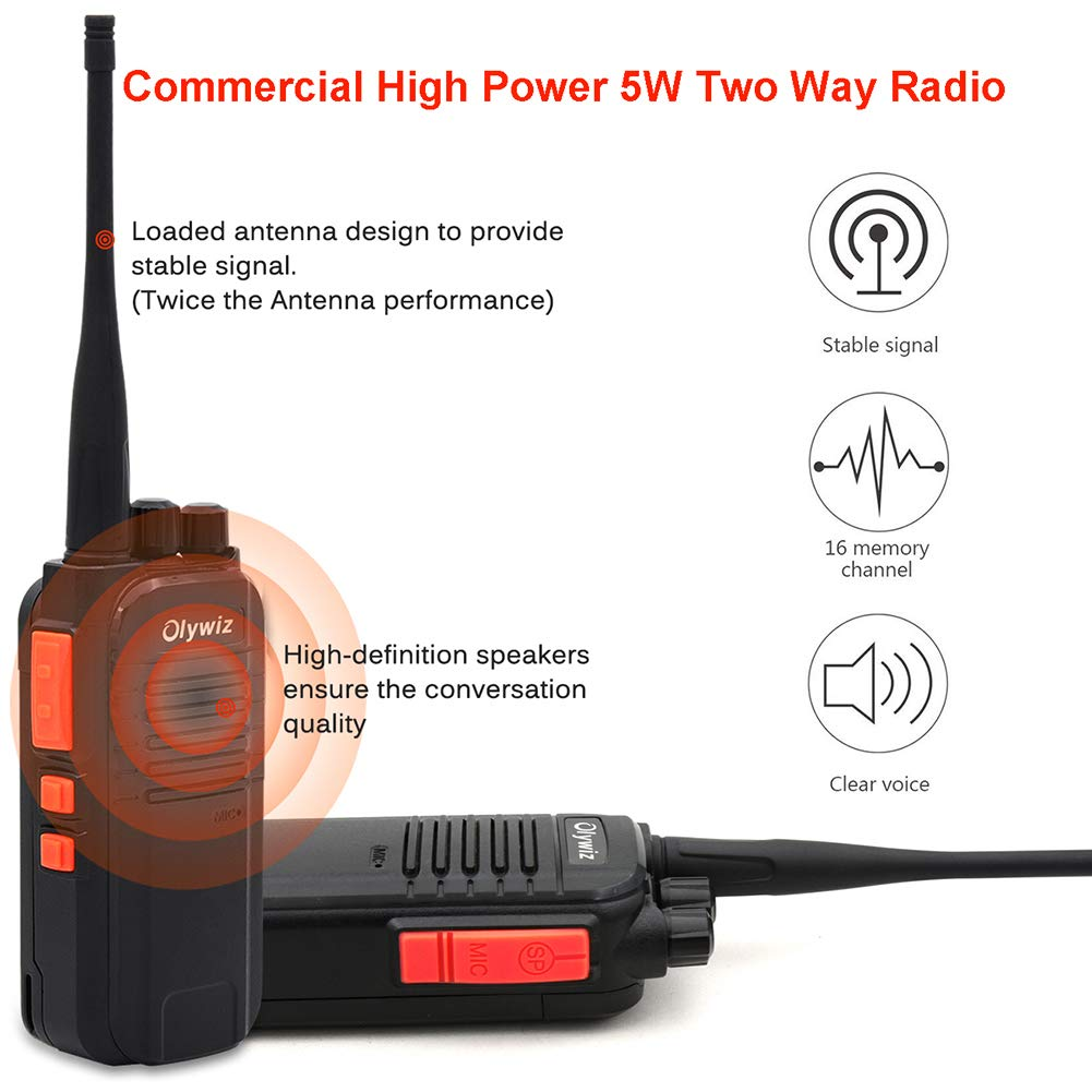 Walkie Talkies 5W Ham Radio Long Range Olywiz-813 Two Way Radios 1400MAH Rechargeable Li-ion Battery IP 54 Protection for Camping 4 Pack GTS-813