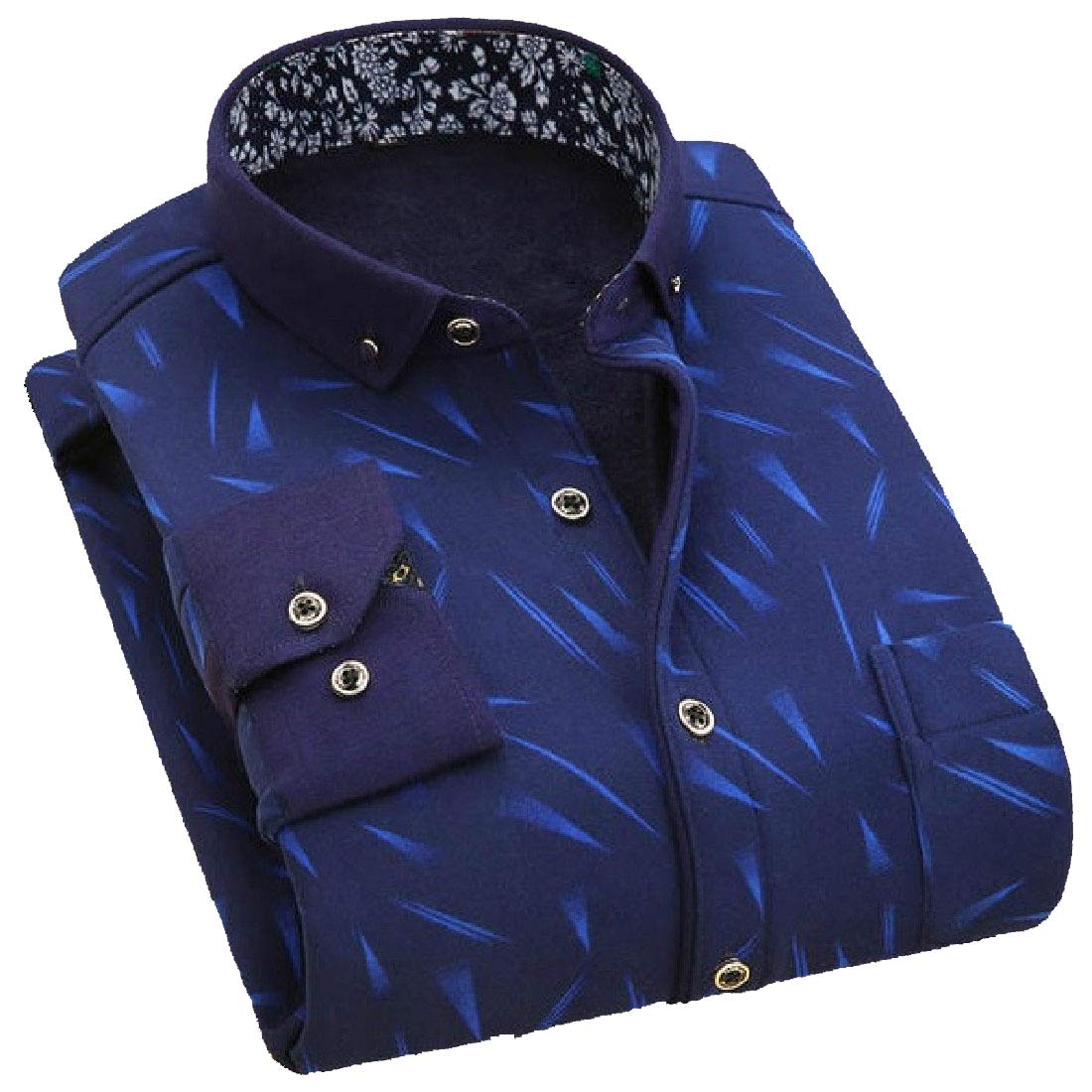 YUNY Men Leisure Warm Long Sleeve Button Turn-Down Collar Work Shirt AS17 XL