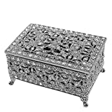 Beautiful Ornate Victorian Design Vanity Rectangle Jewelry Box in Hand Painted Enamel and Embellished with Genuine Crystals. (White Gold)
