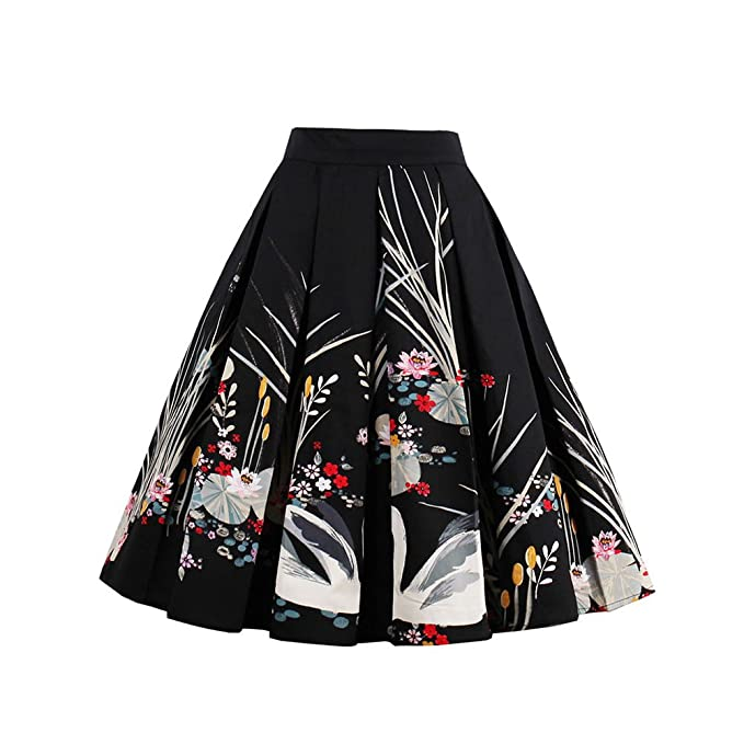 43f616b7a9 Image Unavailable. Image not available for. Color: Pleated Vintage Floral  Midi Skirts Floral Print A-line High Waist for Women Black/