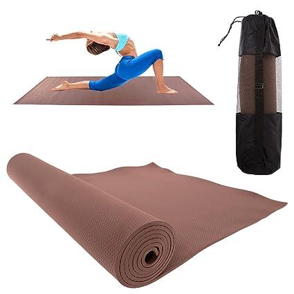 Amazon.com : Brown Eva Yoga Mat With Carry Bag Strap 7mm ...