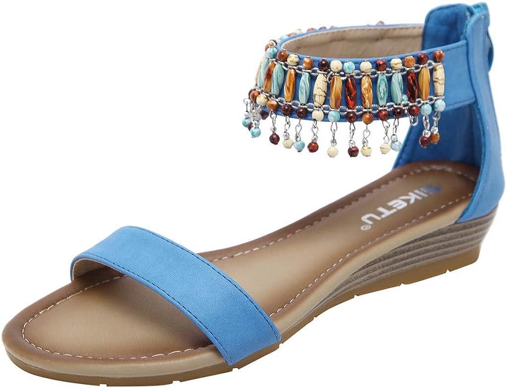 Summer Low Heels Wedges Womens Fashion Summer Casual Roman Zipper Work Shoes Sweet Sandals