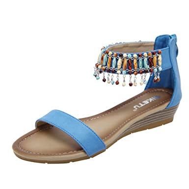 6dc1d12d37 ... Punta Abierta para Mujer Zapatos Planos 2019 Casual Sandalias de Vestir  Mujer con Hebilla Sandalias de Danza Negro 35-42  Amazon.es  Ropa y  accesorios
