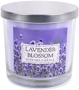 """Home Traditions 3-Wick Evenly Burning Highly Scented 4x4"""" Large Jar Candle with 45+ Hour Burn Time (14.5 Oz) - Lavender Blossom Scent"""