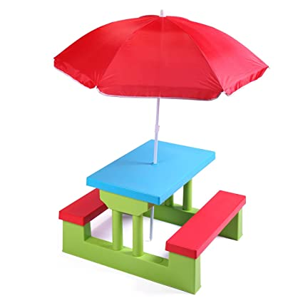 Groovy Jaxpety Kids Picnic Table With Umbrella Plastic Folding Outdoor Children Set Play Bench Download Free Architecture Designs Oxytwazosbritishbridgeorg