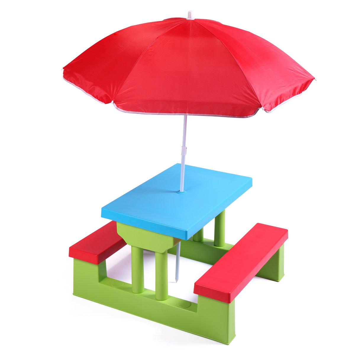 Tobbi Colorful Kids Picnic Table Bench Set Portable Garden Yard Bench w/Removable Umbrella