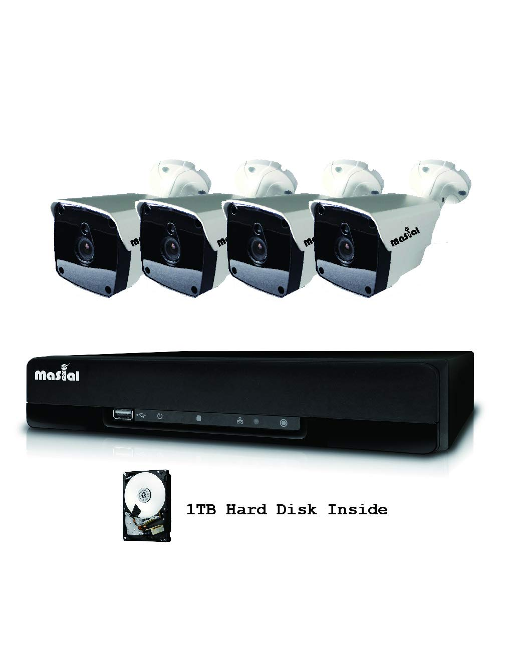 Masial 8CH Home Security Camera System, 1080P DVR Recorder Supports HD-AHD TVI CVI, with 4X HD 1080P Indoor Outdoor Weatherproof CCTV Cameras, 1TB Hard Drive, Smartphone, PC Easy Remote Access