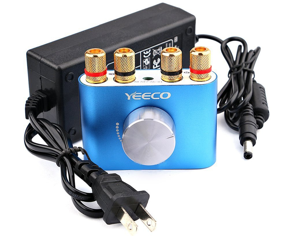 Yeeco Hifi Mini Bluetooth Amplifier 50W+50W DC 12/24V Wireless Bluetooth Stereo Dual Channel Audio Receiver Power Amp Ampli Board with US-type Power Supply Adapter for Sound Audio System B1700610