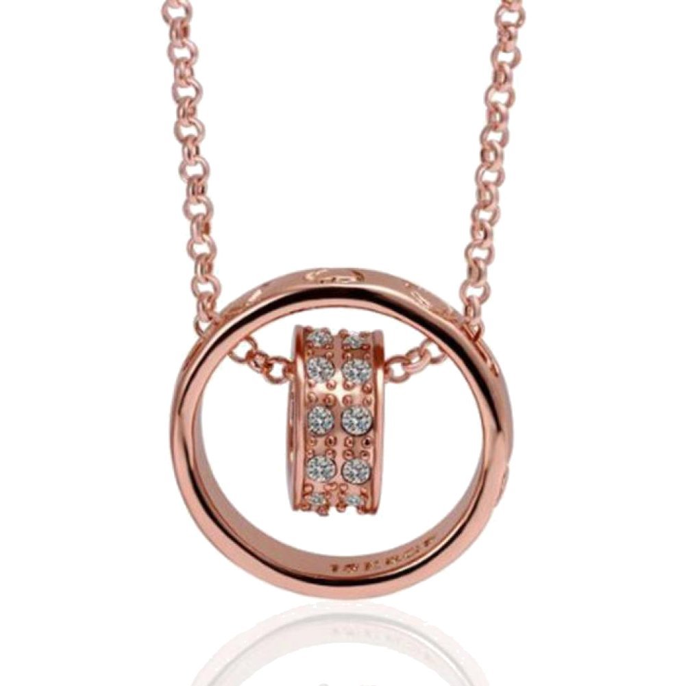 Coromose Women Crystal Chain Rhinestone Necklace Love Heart Ring Pendant Gift Rose Gold