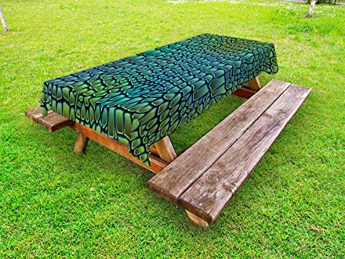 Ambesonne Abstract Outdoor Tablecloth, Alligator Skin African Animal Crocodile Reptile Safari Wildlife Vibrant Artwork, Decorative Washable Picnic Table Cloth, 58 X 120 Inches, Green Blue ()