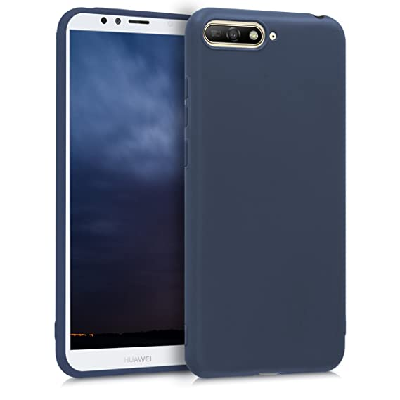 kwmobile TPU Silicone Case for Huawei Y6 (2018) - Soft Flexible Shock Absorbent Protective Phone Cover - Dark Blue Matte