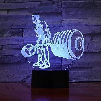 Levantamiento de Pesas luz Nocturna decoloración lámpara de Mesa ...