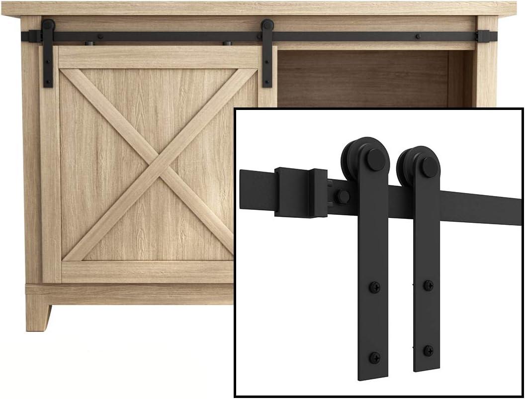 "SMARTSTANDARD 4FT Super Mini Cabinet Sliding Barn Door Hardware Kit -Smoothly and Quietly -for TV Stand, Closet, Window -Fit 24"" Wide Door Panel -I Shape Hanger (NO Cabinet)"