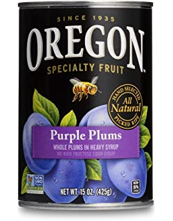Oregon Fruit Whole Purple Plums in Heavy Syrup, 15-Ounce Cans (Pack of