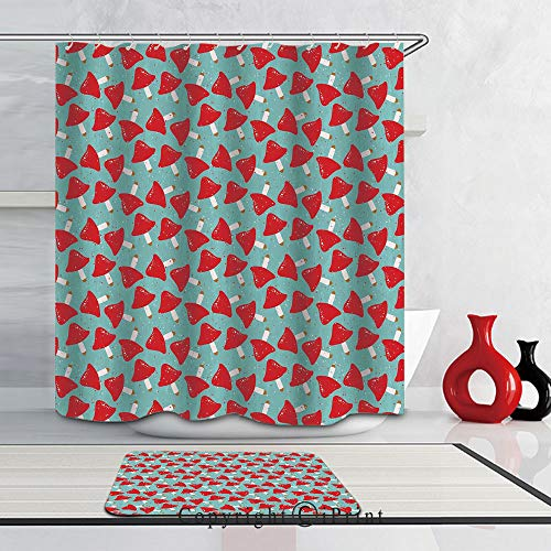 2 Piece Set Shower Curtain and Mat Set, Waterproof Fabric Bathroom Curtain and Rug Set with Hooks,(72