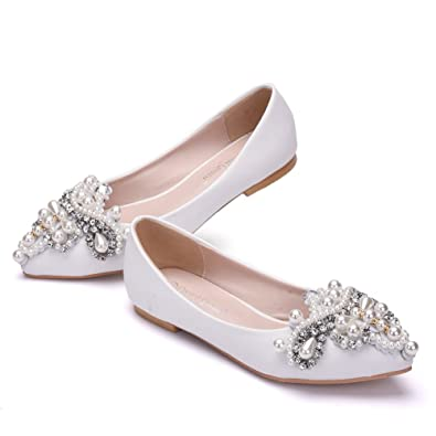 43df17ea32af0 Crystal Queen Women Shoes Flats Pointed Toe Flats Plus Size Flat Heel Women  Shoes Ballet Flats