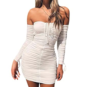Best-Topshop Womens Sexy Off Shoulder Strapless Ruched Slim Bodycon Club Mini Dress at Amazon Womens Clothing store: