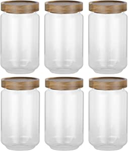 Airtight Food Storage Container Set - 6 PC Set Food Storage Jar, 24OZ ,with Acacia Wood Seal Lid-Canister Used these for storing pasta, lentils, raisins, coffee - any dry food