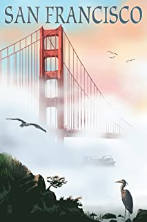 product image for San Francisco, California, Golden Gate Bridge in Fog 41207 (12x18 SIGNED Print Master Art Print, Wall Decor Poster)