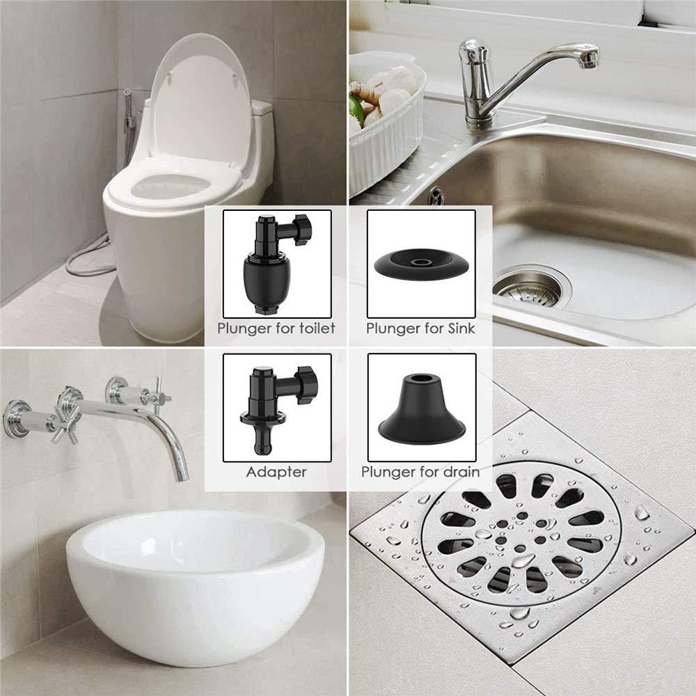lavabo lavello stantuffo per WC con 3 teste pistone e gonfiatore multifunzione stantuffo per WC gonfiabile scarico a pavimento draga fogna per WC Junnom ad alta pressione
