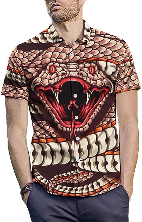 WODENINEK Camisa Impresa para Hombre, Manga Corta Patrón de Cobra Ligero Hawai Abotonar Verano Aloha Playa Vacaciones,M: Amazon.es: Hogar