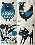 Swedish Dishcloths, Set of 4 Different MODERN Designs in DARK TURQUOISE - Sheep+Rooster+Cat+Abstract