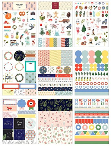 Planner Stickers 9 Sheets Variety Funny Animals Florals Words Pattern, Decorative Sticker Collection for Scrapbooking,Calendars,DIY Crafts,Album,Bullet Journals,School Office Stationery (Sticker School Collection)