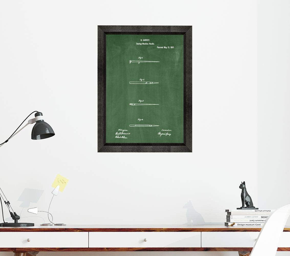 Sewing Needle Patent Art Green Chalkboard Print in a Beveled Black Wood Frame (20'' x 24'') M15827 by Frame a Patent (Image #3)