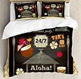 Ambesonne Hawaii Queen Size Duvet Cover Set, Traditional Tiki Bar Poster Design with Coconut Drink and Aloha Slogan Bamboo Frame, Decorative 3 Piece Bedding Set with 2 Pillow Shams, Multicolor