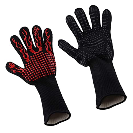 2pc BBQ Fire Resistant Grill Gloves 800°C Heat Resistant Red Flame /& Black