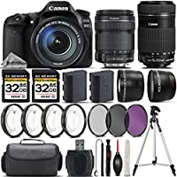 Canon EOS 80D DSLR Camera + Canon 18-135mm IS STM Lens + Canon 55-250mm IS STM Lens + 0.43X Wide Angle Lens + 2.2x Telephoto Lens + 64GB Storage + 4PC Macro Kit + UV-CPL-FLD - International Version