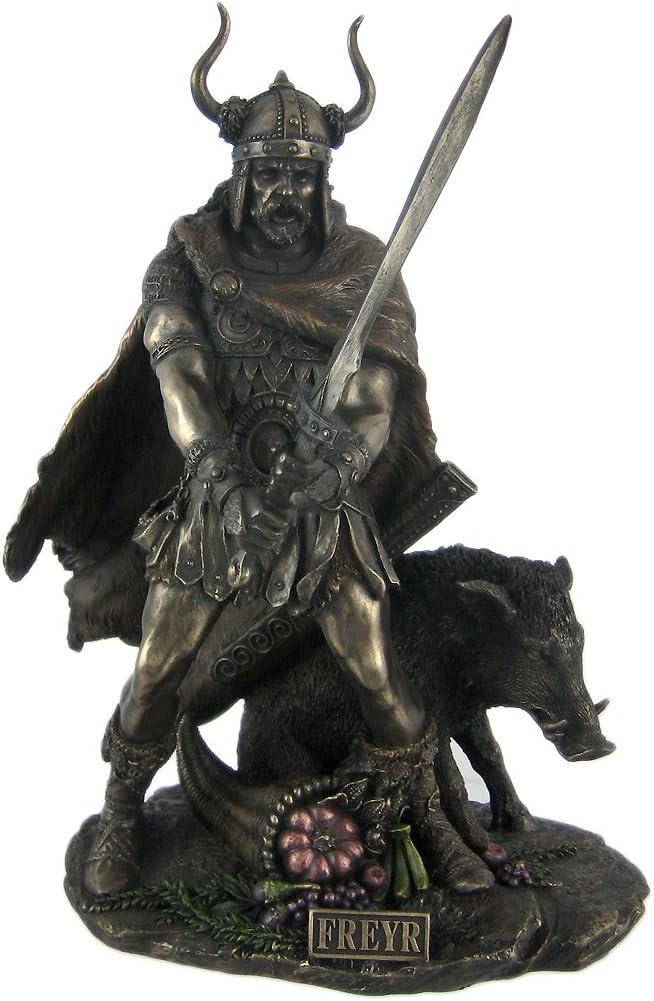 Dio norvegese Freyr finitura bronzata statua pagana fertilit/à