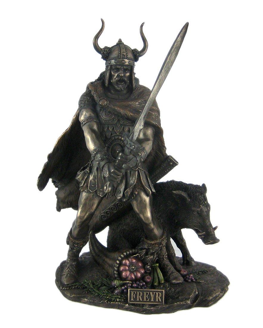 Veronese Design Norse God Freyr Bronzed Finish Statue Pagan Fertility