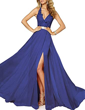 Emmani Womens Spaghetti V-Neck Side Split Backless Long Prom Dresses(Blue,0