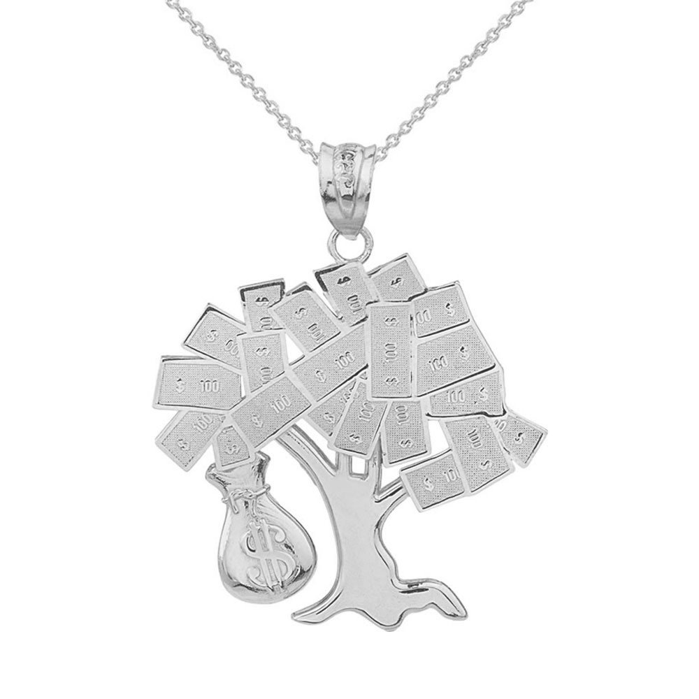 Solid 14k White Gold USD Dollar Money Bag Treasure Tree Pendant Necklace, 20''