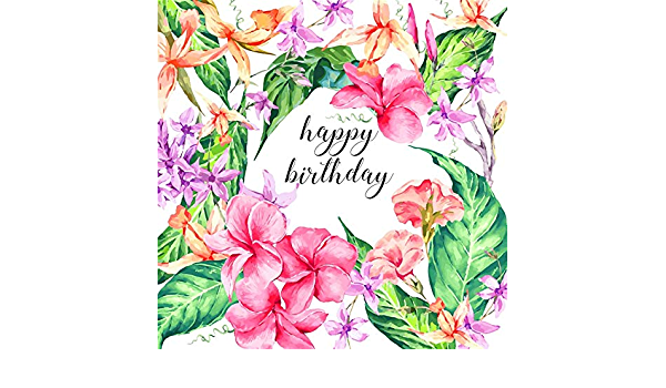 ALUONI 7x5ft Watercolor,Gerbera Calla Pattern Floral Arrangement Tropical Foliage Backdrop for Selfie Birthday Party Pictures Photo Dance Decor Wedding Studio Background AM033323