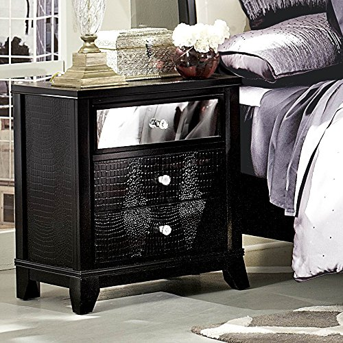 Alligator Nightstand (Jacqueline Mirrored Drawer Front Nightstand in Black Faux Alligator by Homelegance)