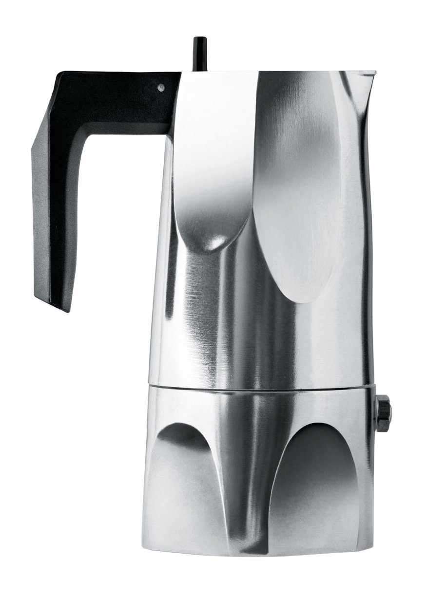 Alessi 3-Cup Ossidiana Espresso Coffee Maker in Aluminium Casting Handle with Knob in Thermo Plastic ResinBlack MT18/3