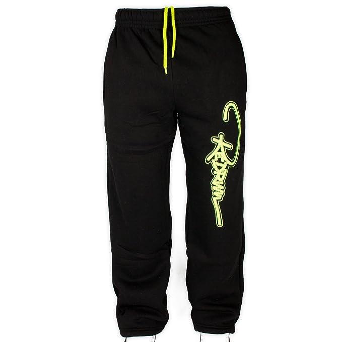 Pantalon deportivo largo negro con logo neón