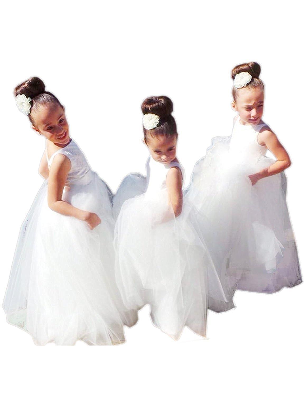 Amazon White Tulle Lace V Back Flower Girl Dresses Round Neck