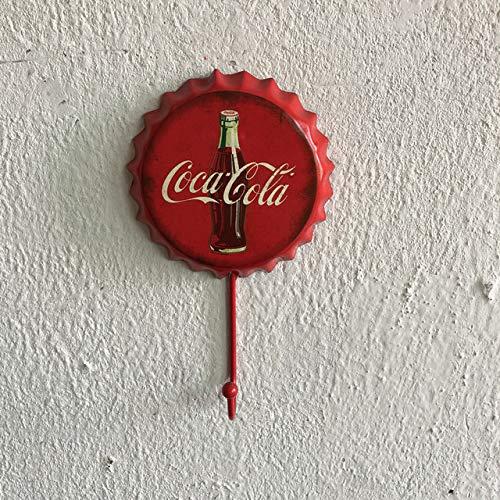 TheHiddenDeer Vintage Beer Cap Hook Hanger - Loft Vintage Hook Hanger - for Home Decor/Fitting Room - Hanging Jacket Keys Clothes - Old American Clothes Hook - Multiple Patterns (Coca Cola)