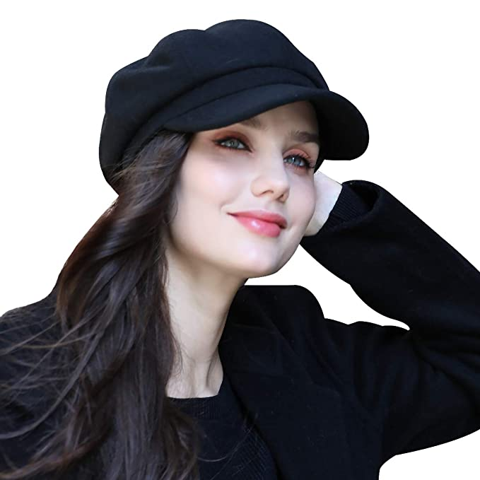 FARSEER Womens Visor Beret Newsboy Hat Cap for Ladies (Black) at ... b7e51c9b966