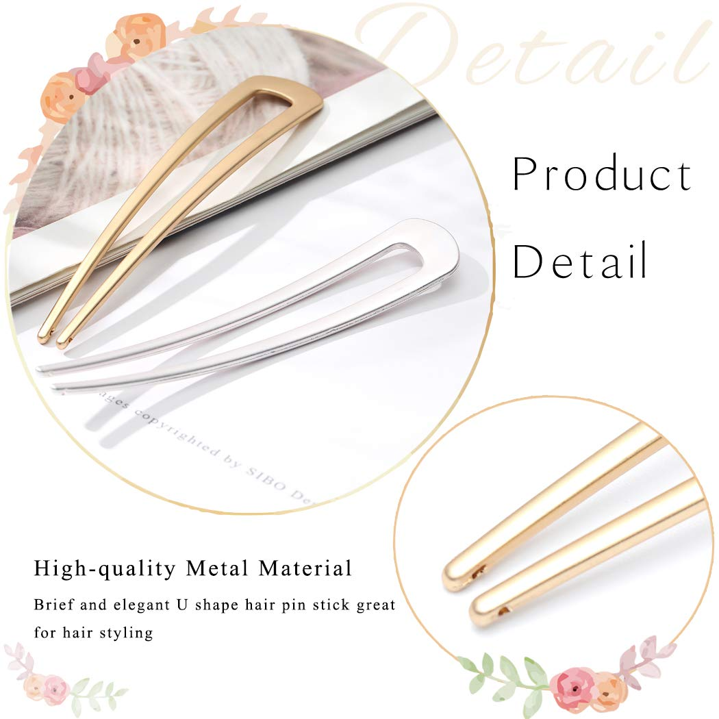 Briskaari Hair Pins Gold U Shaped Hair Sticks Fork Metal Chignon Pins Hair Clips Hair Braids Twist Styling Maker Hair Accessories for Women (Pack of 2) : Beauty